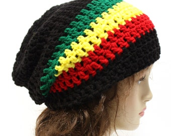 Slouchy Beanie Rasta Tam Slouchy Hat Black Red Yellow Green