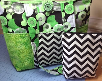Custom made six pocket tote bag with zipper pouch and button close