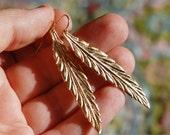Gold Feather Leaf Earrings, Long, Minimalist, Beautiful, 14K Gold Filled Ear Wires