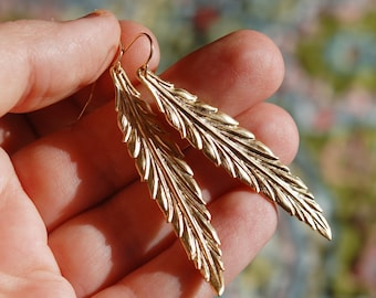 Gold Feather Leaf Earrings, Long, Minimalist, Beautiful, 14K Gold Filled Ear Wires