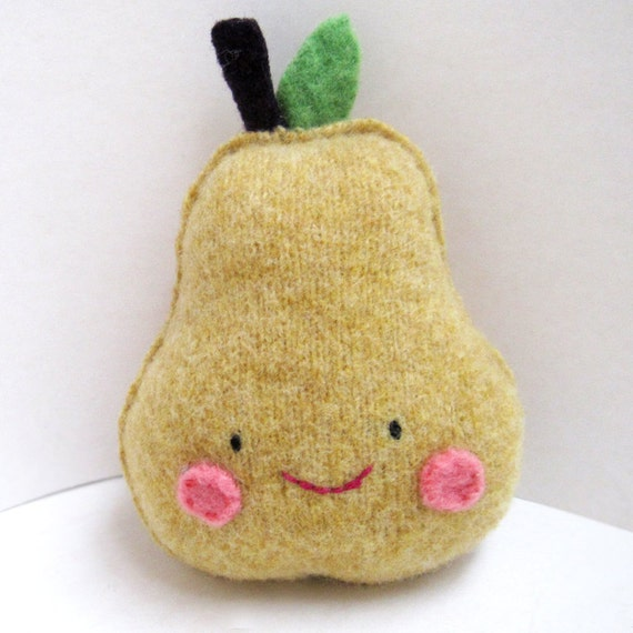 Golden Yellow Pear Foo - Recycled Wool Sweater Plush Toy
