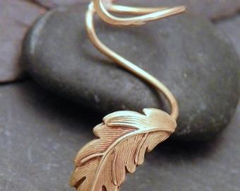 Golden Leaf Ear Cuff -  AUTUMN LEAF  - Handcrafted Brass Earcuff