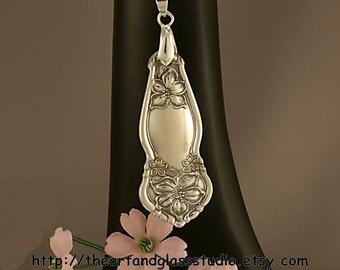 Silver Spoon Pendant ORANGE BLOSSOM Jewelry Necklace Vintage, Silverware, Gift, Anniversary, Wedding, Birthday