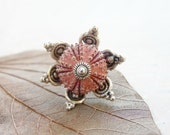 Pink Sea Urchin Flower Ring Beach Jewelry