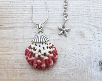 Seashell Necklace Beach Jewelry Burgundy Shell Necklace
