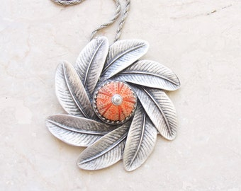 Sea Urchin Red Leaf Necklace Statement Pendant
