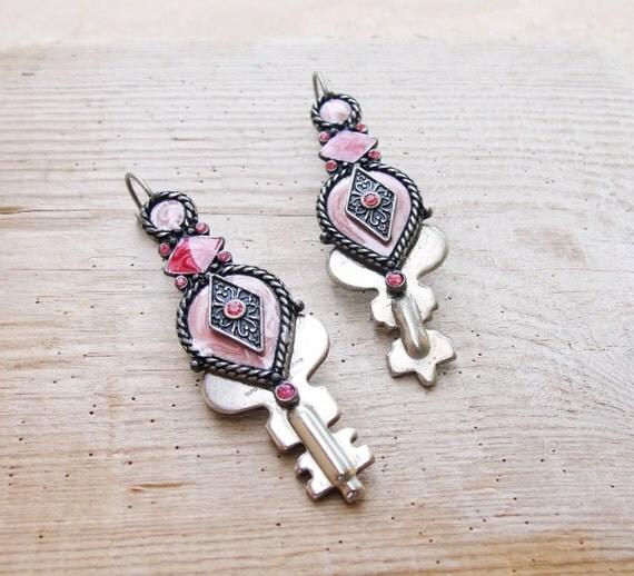 Steampunk Key Earrings Vintage Keys, Enamel