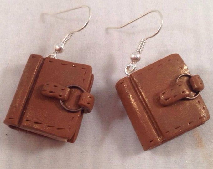 Bound Leather journal earrings in brown diary
