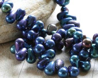 Czech glass tear drop beads 6mm x 4mm iris blue (100 beads) by Lori Lochner