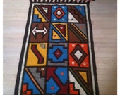 Large Geometric Colorful Mid Century Wool Wall Hanging or Rug
