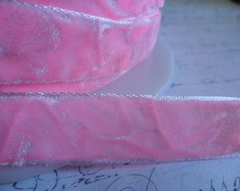 Cotton Candy Pink Crushed Velvet Ribbon 5/8