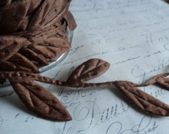 Chocolate Brown Extra Large  Ribbon of Leaves and Trailing Vine Trim