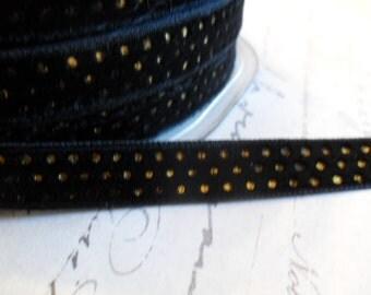 3/8 inch Black with Metallic Gold Dots Velvet Ribbon
