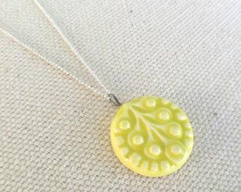 scandi leaf necklace, chartreuse ... handmade porcelain jewelry by Sofia Masri