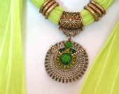 Bright Scarf Jewelry Pendant Scarves  Pendant Lime Green