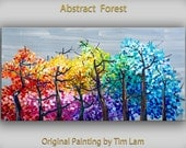 Original abstract Tree art oil painting Muiti-colors forest on gallery wrap canvas Ready to hang by tim Lam 48x24
