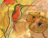 PRINT - Oriental Poppies and Hummingbird, print, 8 x 10, gold, yellow, bird, wall decor