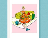 CARD: Mid Century 50s fashionista note card,vacuuming, pink, housework, retro, diva