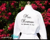 Bride Robe Mrs. and Last Name Back Embroidery with Est. Wedding Date - Personalized Bride Robe - Custom Elegant Script Wedding Day Spa