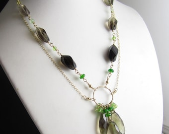 Sprout at the Trunk Necklace - 14k Gold Fill Chain, Bi-color lemon-smoky quartz, Peridot, and Chrome Diopside