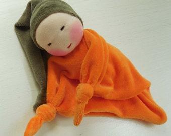 orange blanket doll - 10 inch Waldorf Toy -  Little pumpkin