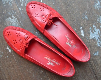 Vintage Shoes - Red Leather Flats Size 9 1/2