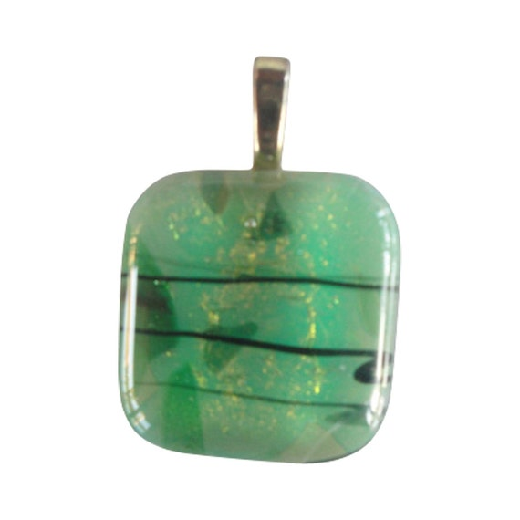 Summer Green Dichroic Glass Pendant, Fused Glass Pendant,  Necklace, Dichroic Jewelry, Glass, Red, Confetti