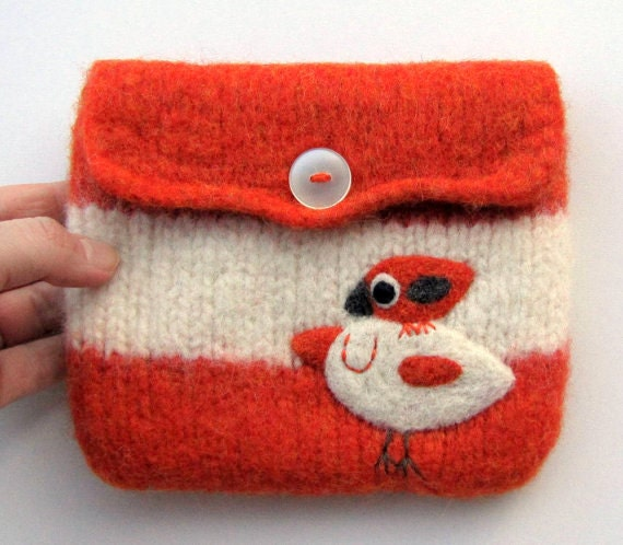 Felted bag pouch wool purse bag hand knit needle felted birdie friends