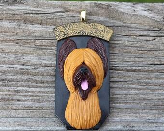 Briard Pendant Handsculpted OOAK Clay