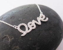 Sterling silver and cubic zirconia script love necklace, great for layering