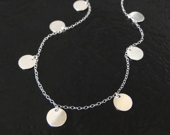Round Disc, Coin Drop Necklace In Sterling Silver - Floating Dots - As Seen on Mackenzie, (The Newsroom)