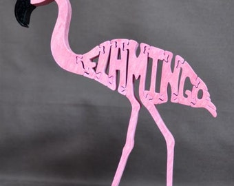 Pink Flamingo Bird Puzzle Wooden Toy Hand Cut with Scroll Saw