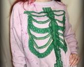 VINTAGE RECONSTRUCTED rib cage / skeleton bones pastel  sweat shirt  W/ lace ribs