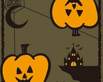 Small Size Cotton 'Halloween Pumpkins' Motif Furoshiki Japanese Fabric w/Free Insured Shipping