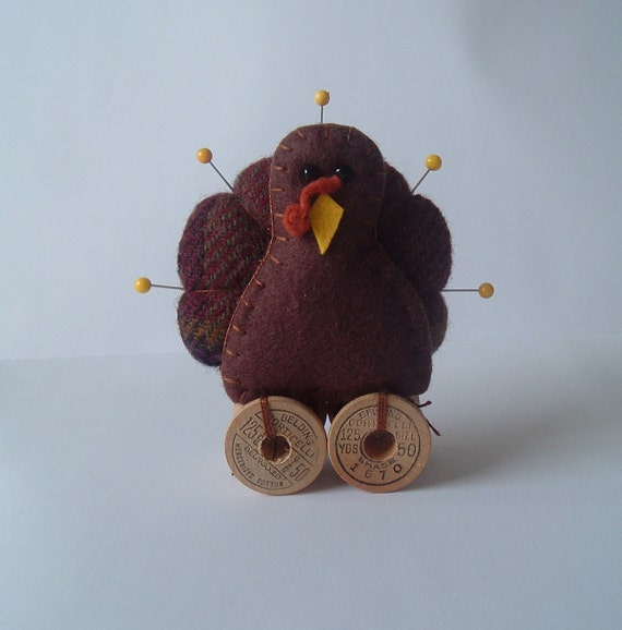 Prim Wool Turkey Pincushion Complete with Vintage Spools