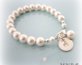 Baby Pearl Bracelet. Personalized Baby Pearl Bracelet. Baptism, Flower Girl, Weddings, First Communion
