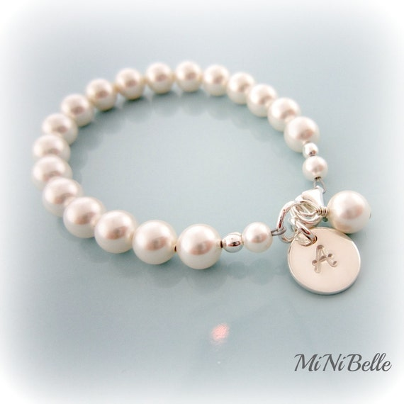 Baby Pearl Bracelet. Personalized Baby Pearl Bracelet.