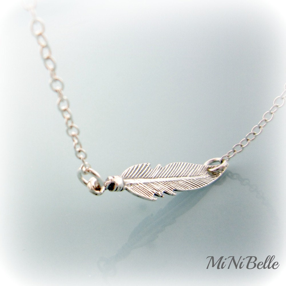 feather necklace sterling silver feather necklace feather