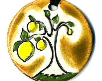 Lemon Tree Ceramic Necklace in Earth Tones