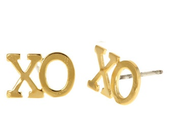 Double Hugs and Kisses X and O Studs in 14k yellow gold plate. Perfect for the holidays and Valentine's Day. trendy, fun, teen, on sale.