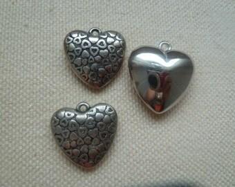 Three Silver Heart Pendant Beads