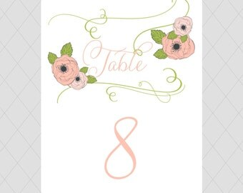 Pink Wedding Table Numbers - Flower, Floral Table Number