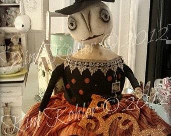 Instant Download Doll Pattern Primitive Witch PDF E Patterns Halloween Orange Black Sewing Cloth Fabric Goth Kim Kohler Veenas Mercantile
