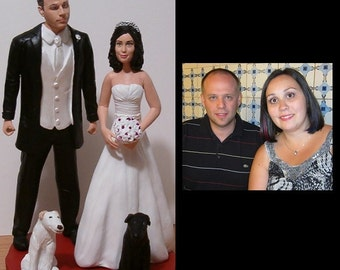 Custom Wedding Cake Toppers Figure set - Personalized to Look Like Bride Groom from your Photos