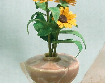 Arts and Crafts Vase in Dusty Rose with Sunflowers in 1:12 Scale