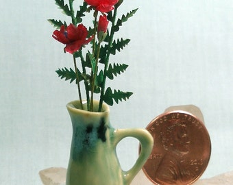 Miniature Arts and Crafts Tall Pitcher with Wild Red Roses in 1:12 Scale