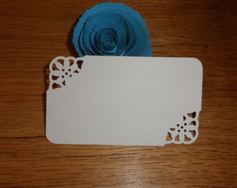 100 Custom Corner Design Cards to be used for weddings, showers, escort cards, place cards, note cards, etc.