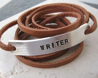 WRITER Leather Wrap Bracelet, choose leather and metal type, 30 character limit, author gift, poet gift, novelist braclet, writing bracelet