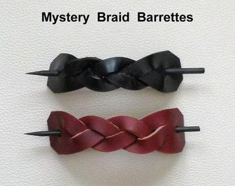 Mystery Braid Leather Hair Barrettes, Retro Style Barrettes, Hippie Barrettes, Stick Barrettes