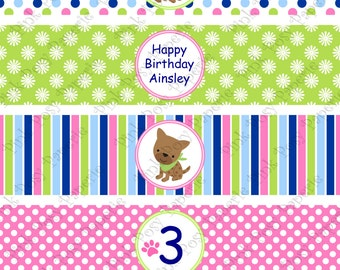 Printable Puppy Dog Girl Birthday Water Bottle Wrappers